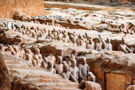 mausoleum: XIAN, SHAANXI PROVINCE, CHINA - OCTOBER 28, 2015: View of the Terracotta Warriors in corridors inside the Qin Shi Huang Mausoleum of the First Emperor of China.