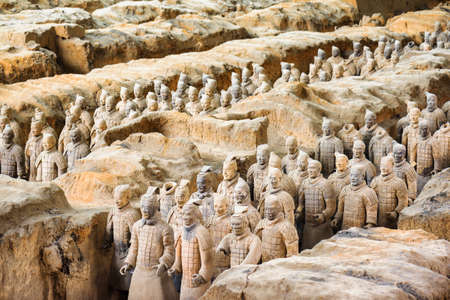 XI'AN, SHAANXI PROVINCE, CHINA - OCTOBER 28, 2015: View of the famous Terracotta Army at excavation pit in the Qin Shi Huang Mausoleum of the First Emperor of China. Editorial