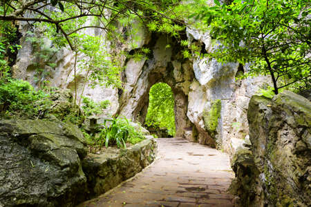 leading the way: Scenic stone walkway leading to gate in rocks among green foliage. Way to enigmatic tropical woods. Forest in summer season. Stock Photo
