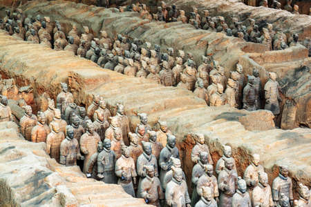 huang: XIAN, SHAANXI PROVINCE, CHINA - OCTOBER 28, 2015: The Terracotta Warriors of the famous Terracotta Army inside the Qin Shi Huang Mausoleum of the First Emperor of China. Editorial