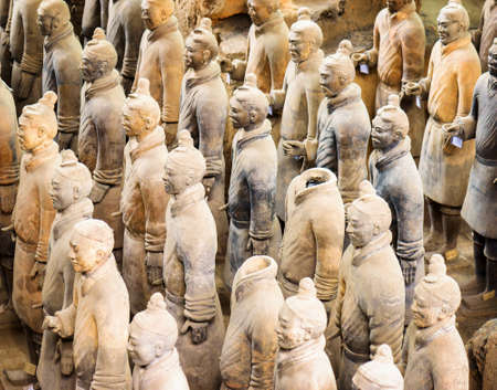 huang: XIAN, SHAANXI PROVINCE, CHINA - OCTOBER 28, 2015: View of the Terracotta Warriors in the Qin Shi Huang Mausoleum of the First Emperor of China.