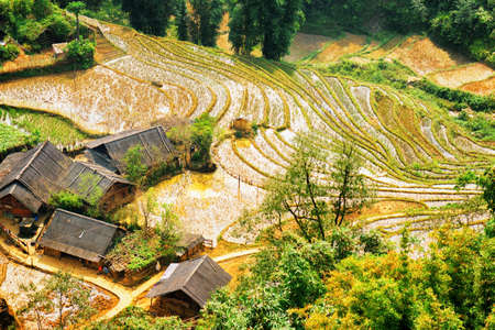 destination scenic: Scenic view of rice terraces filled with water and roofs of village houses at highlands of Sapa District, Lao Cai Province, Vietnam. Sa Pa is a popular tourist destination of Asia.