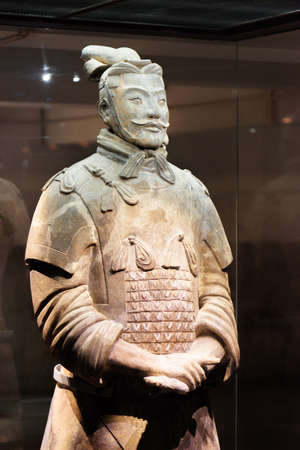 XIAN, SHAANXI PROVINCE, CHINA - OCTOBER 28, 2015: Sculpture of high-ranking officer of the Terracotta Army, the Qin Shi Huang Mausoleum of the First Emperor of China. Editorial