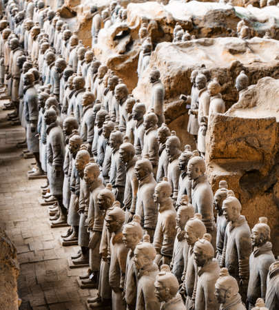 imperialism: XIAN, SHAANXI PROVINCE, CHINA - OCTOBER 28, 2015: Side view of the Terracotta Warriors in the Qin Shi Huang Mausoleum of the First Emperor of China.