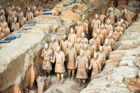 XIAN, SHAANXI PROVINCE, CHINA - OCTOBER 28, 2015: View of terracotta soldiers of the famous Terracotta Army inside the Qin Shi Huang Mausoleum of the First Emperor of China.