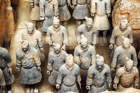 terra cotta: XIAN, SHAANXI PROVINCE, CHINA - OCTOBER 28, 2015: Top view of terracotta soldiers of the famous Terracotta Army inside the Qin Shi Huang Mausoleum of the First Emperor of China. Editorial