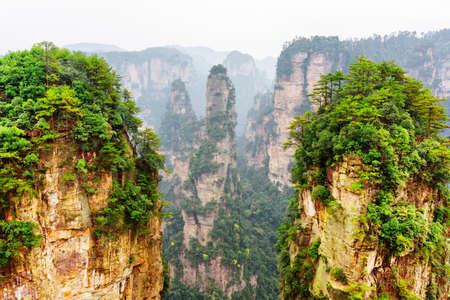 the natural world: Amazing view of natural quartz sandstone pillar named the Avatar Hallelujah Mountain and other wooded rocks in the Tianzi Mountains, the Zhangjiajie National Forest Park, Hunan Province, China. Stock Photo