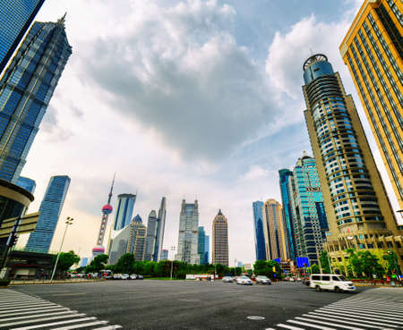 oriental pearl tower: Intersection of Century Avenue and Lujiazui Ring Road in the Pudong New District of Shanghai, China. The Jin Mao Tower, the Oriental Pearl Tower and other skyscrapers of downtown are visible at left.