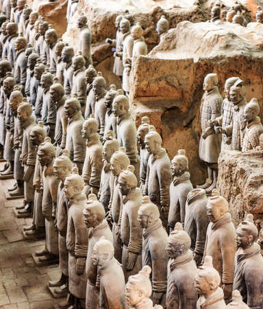 imperialism: XIAN, SHAANXI PROVINCE, CHINA - OCTOBER 28, 2015: Side view of the Terracotta Warriors inside the Qin Shi Huang Mausoleum of the First Emperor of China. Editorial