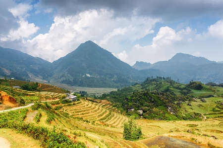 lien: View of rice terraces at highlands. Sapa District, Lao Cai Province, Vietnam. Sa Pa is a popular tourist destination of Asia. The Hoang Lien Mountains are visible in background. Stock Photo