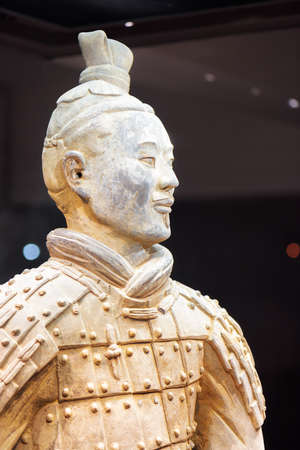 imperialism: XIAN, SHAANXI PROVINCE, CHINA - OCTOBER 28, 2015: Closeup view of archer of the Terracotta Army, the Qin Shi Huang Mausoleum of the First Emperor of China. Editorial