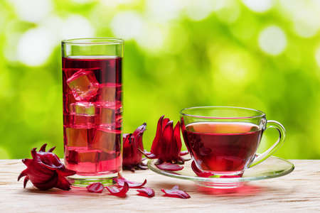 flor: Cup of hot hibiscus tea (karkade, red sorrel, Agua de flor de Jamaica) and the same cold drink with ice in glass on nature background. Drink made from magenta calyces (sepals) of roselle flowers.