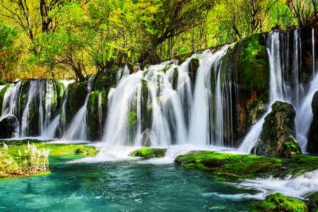 Incroyable cascade et lac bleu azur aux eaux cristallines parmi les bois verts de la réserve naturelle de Jiuzhaigou (Parc national de la vallée de Jiuzhai) de la province du Sichuan, en Chine. Paysage de belle forêt d'été.