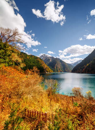 long lake: Amazing view of the Long Lake among colorful fall woods and mountains in Jiuzhaigou nature reserve (Jiuzhai Valley National Park), China. Beautiful snowy peaks and blue sky are visible in background.