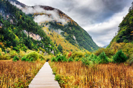 min: Wooden boardwalk leading to the Min Mountains (Minshan) in clouds on the Tibetan Plateau, Jiuzhaigou nature reserve (Jiuzhai Valley National Park), China. Amazing autumn landscape.