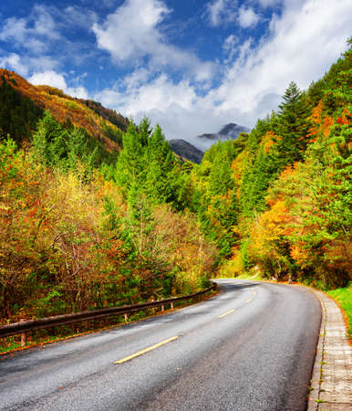 blue green landscape: Bending road among colorful fall woods. Scenic mountains in fog are visible on blue sky background. Yellow, orange, red and green trees are growing along road. Beautiful autumn landscape.