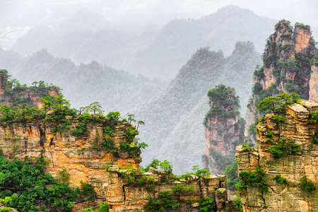 fantastic view: Fantastic view of narrow natural wall of rock named the Natural Great Wall in the Tianzi Mountains (Avatar Mountains), the Zhangjiajie National Forest Park, China. Wooded mountains in background.