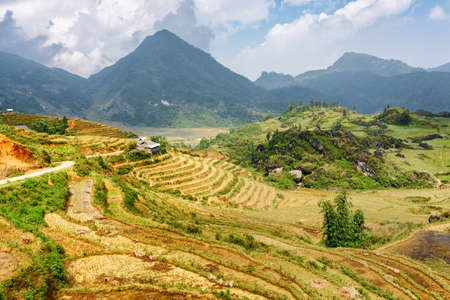 lien: View of terraced rice fields among the Hoang Lien Mountains of Sapa District, Lao Cai Province, Vietnam. Sa Pa is a popular tourist destination of Asia. Stock Photo