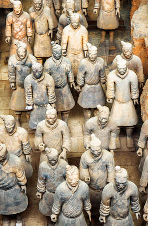 imperialism: XIAN, SHAANXI PROVINCE, CHINA - OCTOBER 28, 2015: Top view of terracotta soldiers of the famous Terracotta Army, the Qin Shi Huang Mausoleum of the First Emperor of China.