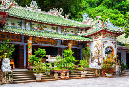 nang: DANANG (DA NANG), VIETNAM - NOVEMBER 10, 2015: Main view of the Linh Ung Pagoda in the Marble Mountains (Ngu Hanh Son). The Marble Mountains is a popular tourist destination of Asia.