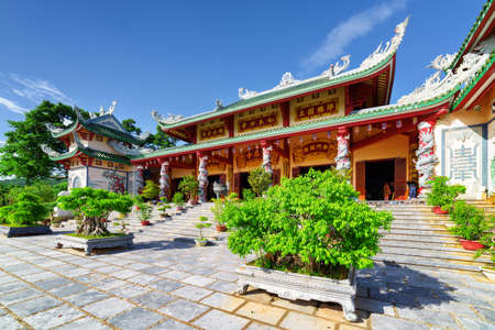 DANANG (DA NANG), VIETNAM - NOVEMBER 10, 2015: Amazing view of the Linh Ung Pagoda on blue sky background. Scenic building of traditional Buddhist temple. Danang is a popular tourist destination. Editorial