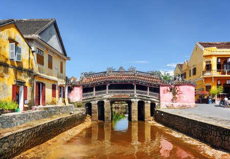 Beautiful view of the Japanese Covered Bridge (Cau Chua Pagoda, Cau Nhat Ban, Lai Vien Kieu) in Hoi An Ancient Town (Hoian), Vietnam. Scenic old bridge is a popular tourist attraction of Asia.