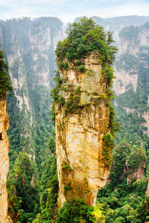 magnificence: Amazing natural quartz sandstone pillar the Avatar Hallelujah Mountain among green woods and rocks in the Tianzi Mountains, the Zhangjiajie National Forest Park, Hunan Province, China. Stock Photo