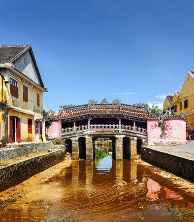 風光明媚なビューの屋根付け日本橋 (チュア塔、カウ ニュート禁止、ライビヤンキユウ) ホイアン エンシェント タウン (ホイアン)、ベトナムで。美