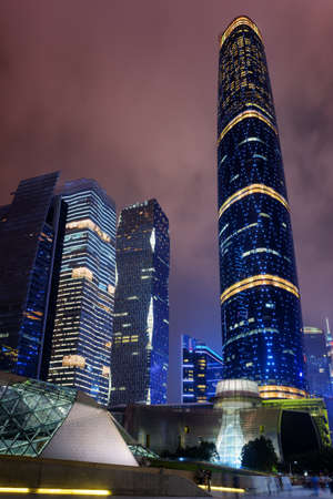 night view of modern buildings at the zhujiang new town the stock