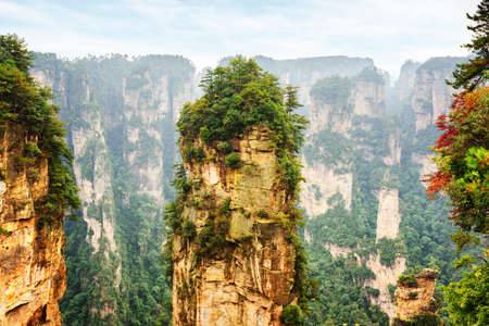 Amazing natural quartz sandstone pillar the Avatar Hallelujah Mountain among rocks in the Tianzi Mountains, the Zhangjiajie National Forest Park, Hunan Province, China.