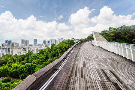 Wonderful view of amazing bridge imitating a wave. Fantastical shape of the pedestrian bridge in Singapore. Curving and twisting wooden walkway leading to a green park. Beautiful cityscape.