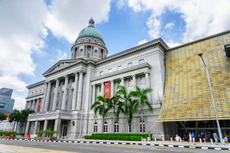 Singapore - February 17, 2017: Main gate to the National Gallery Singapore. View of central rotunda with dome of the former Supreme Court Building. Singapore is a popular tourist destination of Asia.