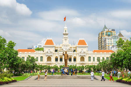 Ho Chi Minh City, Vietnam - February 23, 2017: Main view of the Ho Chi Minh City Hall from square of the same name. Ho Chi Minh Square is a popular tourist destination of Asia. Editorial