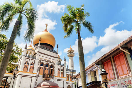 Singapore - February 19, 2017: Beautiful view of Masjid Sultan (Sultan Mosque) at Muscat Street. Muslim quarter at the Kampong Glam of Singapore is a popular tourist destination of Asia.