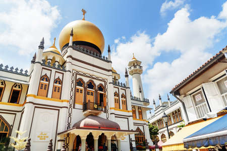 Singapore - February 19, 2017: Main view of Masjid Sultan (Sultan Mosque) at Muscat Street in the Kampong Glam. Muslim quarter (Arab quarter) of Singapore is a popular tourist destination of Asia.