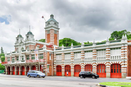 Singapore - February 16, 2017: Scenic red and white building of the Central Fire Station. It is the oldest existing fire station in Singapore for now the Civil Defence Heritage Gallery.