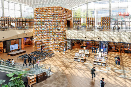Seoul, South Korea - October 14, 2017: View of the Starfield Library reading area from the second floor. The public library is a popular destination among tourists and citizens of Seoul.