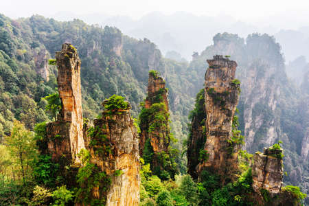 Scenic natural quartz sandstone pillars of fantastic shapes among green woods and rocks in the Tianzi Mountains (Avatar Mountains), the Zhangjiajie National Forest Park, Hunan Province, China.