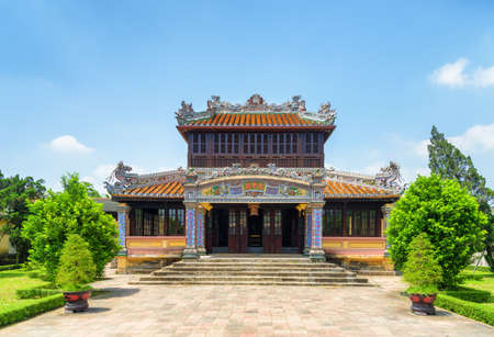 Hue, Vietnam - April 4, 2018: Wonderful view of the Royal Library (Thai Binh Lau Pavilion) on blue sky background on sunny day at the Purple Forbidden City in the Imperial City within the Citadel. Editorial