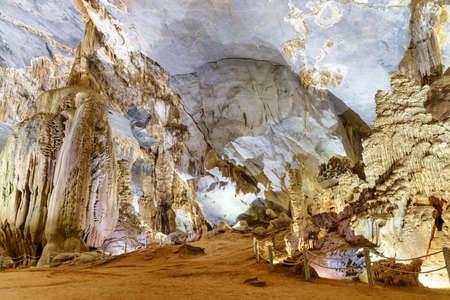 Amazing giant stalagmites inside Phong Nha Cave at Phong Nha-Ke Bang National Park in Vietnam. Phong Nha Cave is a popular tourist attraction of Asia.