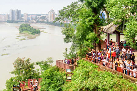 Leshan, China - September 28, 2017: Wonderful view of the city and the confluence of the Min River (Min Jiang) and Dadu River from the Leshan Giant Buddha Scenic Area. Editorial