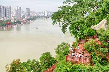 Leshan, China - September 28, 2017: Amazing view of the city and the Min River (Min Jiang) from the Leshan Giant Buddha Scenic Area.