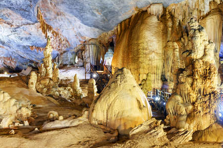Fabulous view of amazing stalagmites inside Paradise Cave (Thien Duong Cave) at Phong Nha-Ke Bang National Park in Vietnam. Paradise Cave is a popular tourist attraction of Asia.
