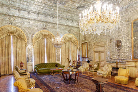 Tehran, Iran - 19 October, 2018: Beautiful view of the Talar-e Brelian (Brilliant Hall) at the Golestan Palace. Persian interior. The Golestan Palace is a popular tourist attraction of the Middle East