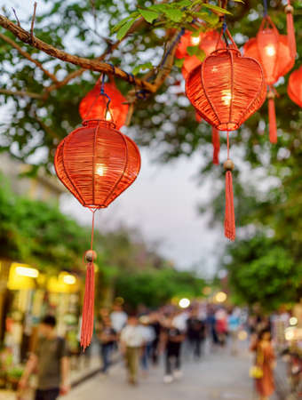 Wonderful evening view of green tree decorated with traditional red lanterns. Amazing street decor. Cozy pedestrian street of Hoi An Ancient Town is visible in background.