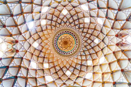 Kashan, Iran - 21 October, 2018: Gorgeous inside view of the main dome of the Borujerdi Historical House. Wonderful Persian architecture. Kashan is a popular tourist destination of the Middle East.
