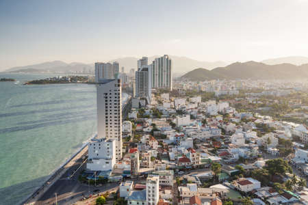 Beautiful aerial view of Nha Trang in Khanh Hoa province, Vietnam. Amazing cityscape. The coastal city is a popular tourist destination of Asia.