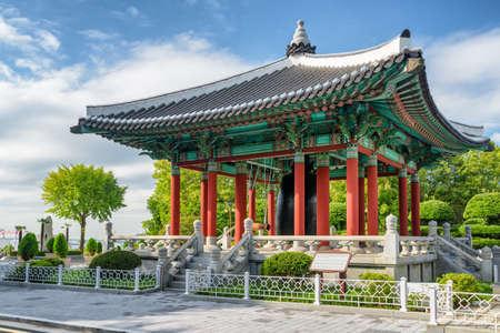 Amazing bell pavilion of traditional Korean architecture at Yongdusan Park of Busan, South Korea. Busan is a popular tourist destination of Asia.