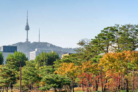 Wonderful colorful autumn park in Seoul, South Korea. Namsan Seoul Tower is visible on blue sky background. The tower is a popular tourist attraction of Asia. Scenic fall cityscape.