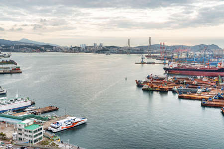 Beautiful view of the Port of Busan in South Korea. Scenic cityscape. Zdjęcie Seryjne